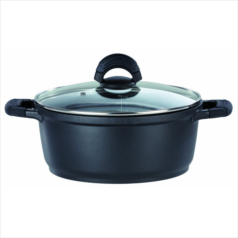 アルミ鋳造鍋 28cm x 12.6cm IH&直火用 SilcoGUSS noir (シリコガス ノワール)