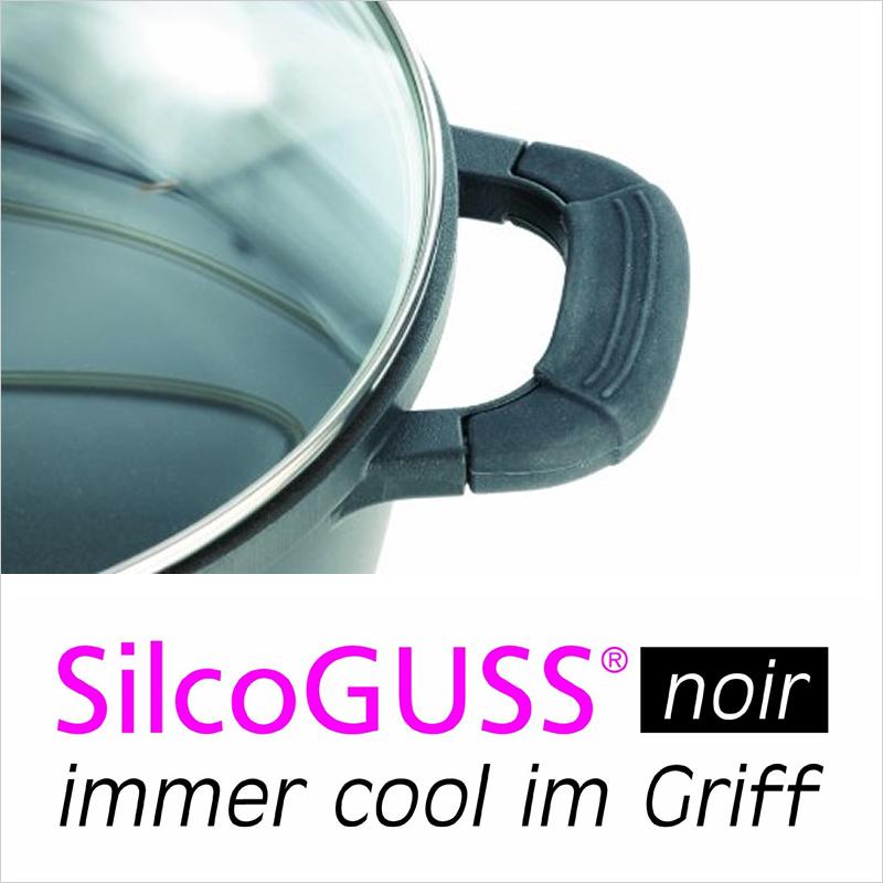 アルミ鋳造鍋 16cm x 8.8cm IH&直火用 SilcoGUSS noir (シリコガス ノワール)