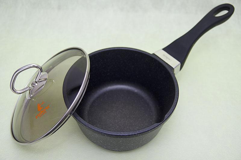 [16cm鍋 直火] ruhru(ルール)ソースパン 16cm x 8.5cm ガラス蓋付き 直火専用