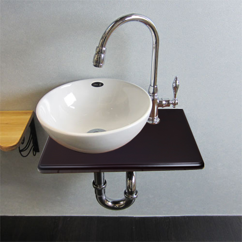 【Eセット38a】陶器ボウルが選べる木製化粧台セット(木・ウッド・省スペース・銀セット)INK-0504075Hset