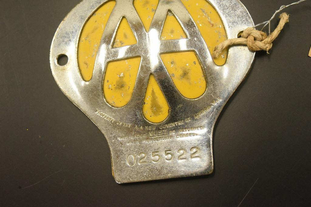 104651 ヴィンテージ AA 「Automobile Association」 カーバッチ エンブレム 留め具外れ