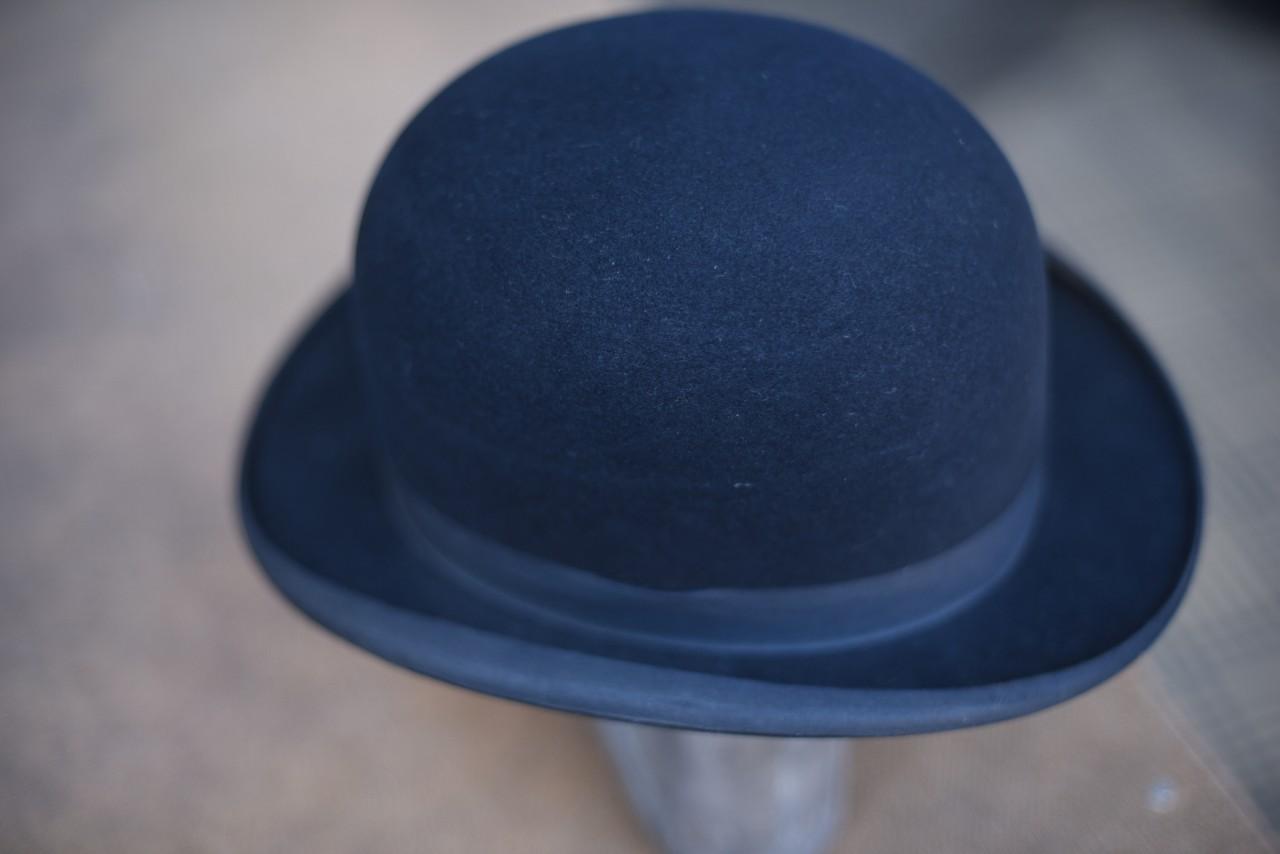 ヴィンテージ FELT HATTERS & TRIMMERS UNIONS ボーラーハット 山高帽 MADE IN ENGLAND 101054