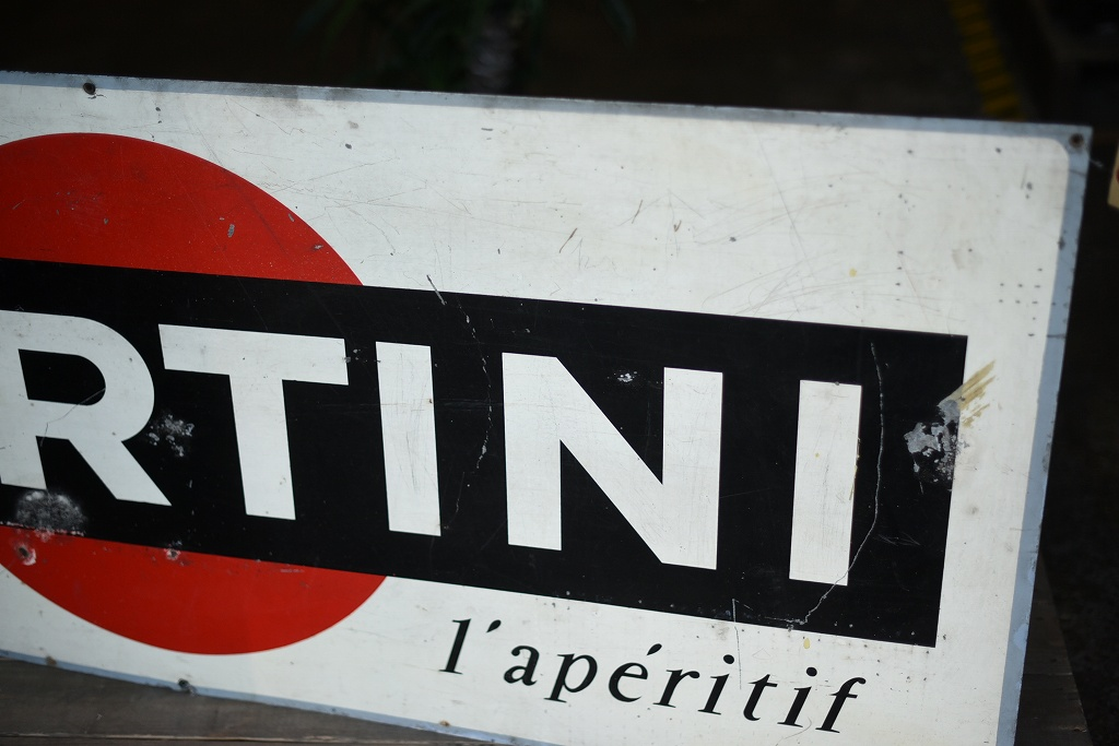 103976  ヴィンテージ 特大 MARTINI マルティニ サインプレート アルミ製看板 英国