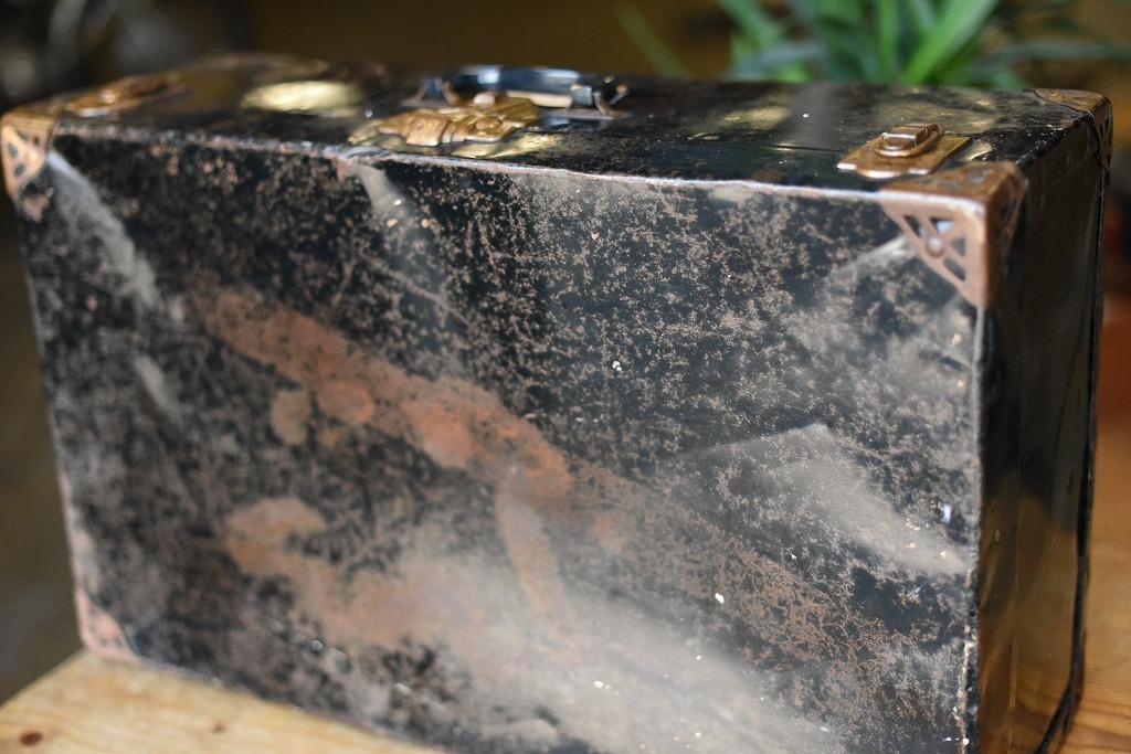 103676 ヴィンテージ スチール トランクケース 革鞄 英国製