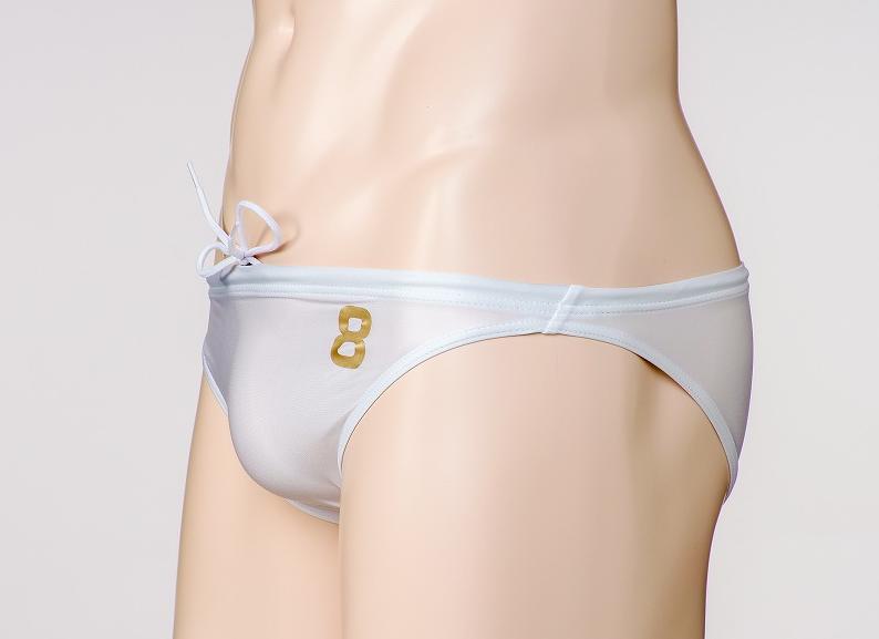 ホワイト 「 ロゴ8 」  【 テルタン : terthane 】 競パン
