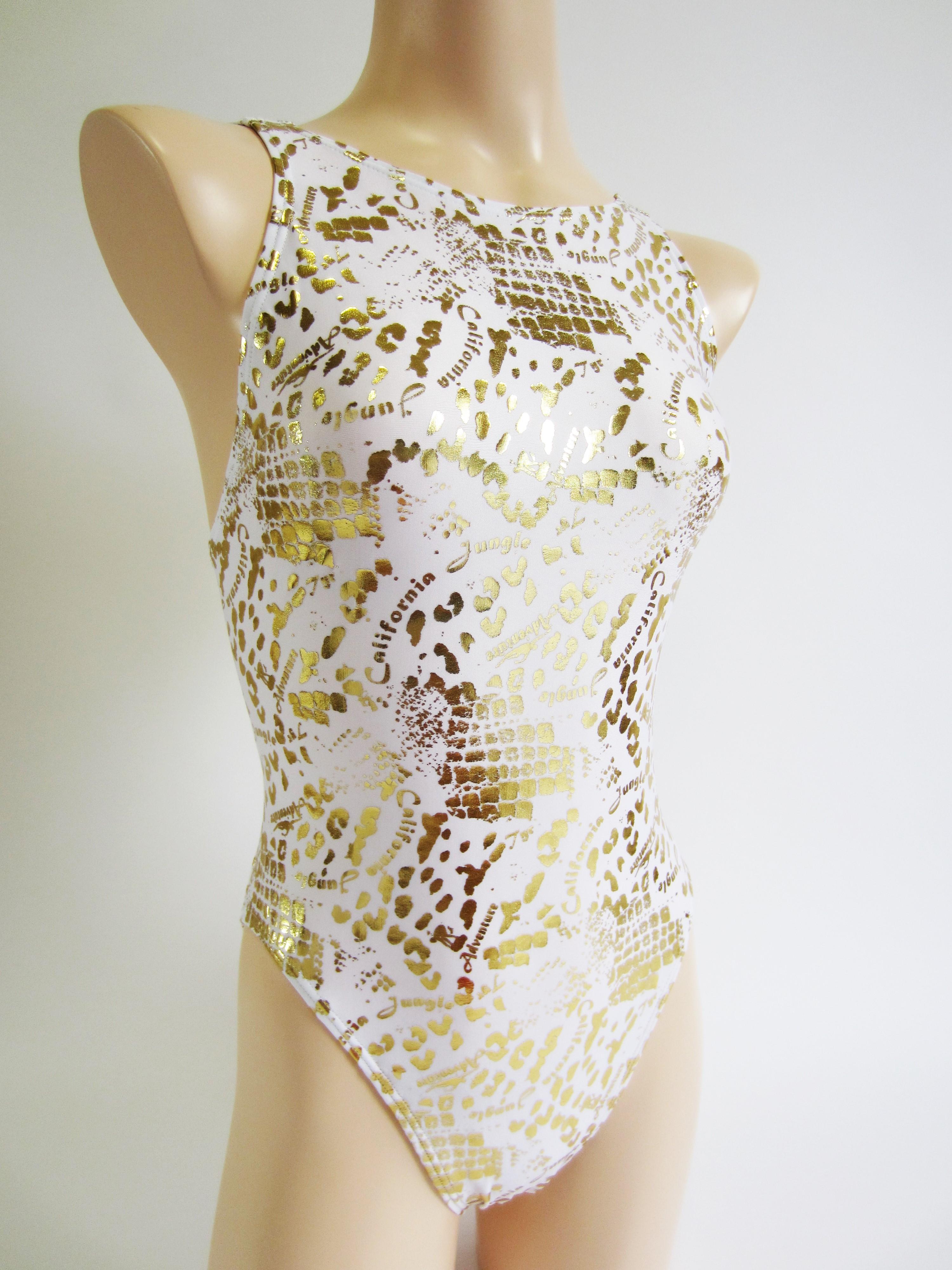別注 TYR(ティア) ホワイト × ゴールド クロコダイル柄 競泳水着 「スイムショプイノウエ限定 モデル」