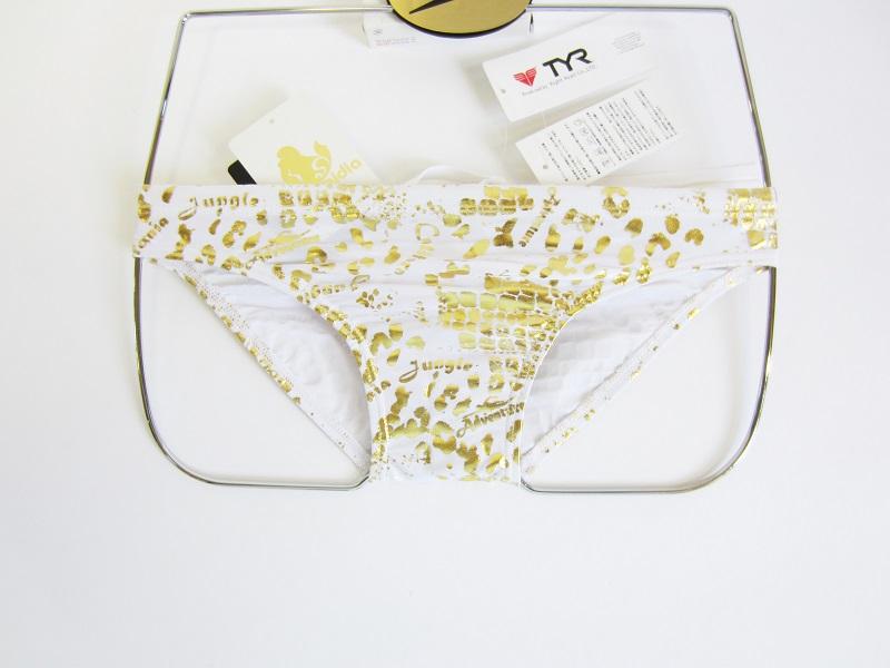 別注 TYR(ティア) ホワイト× ゴールド クロコダイル柄 競パン 「スイムショプイノウエ モデル」