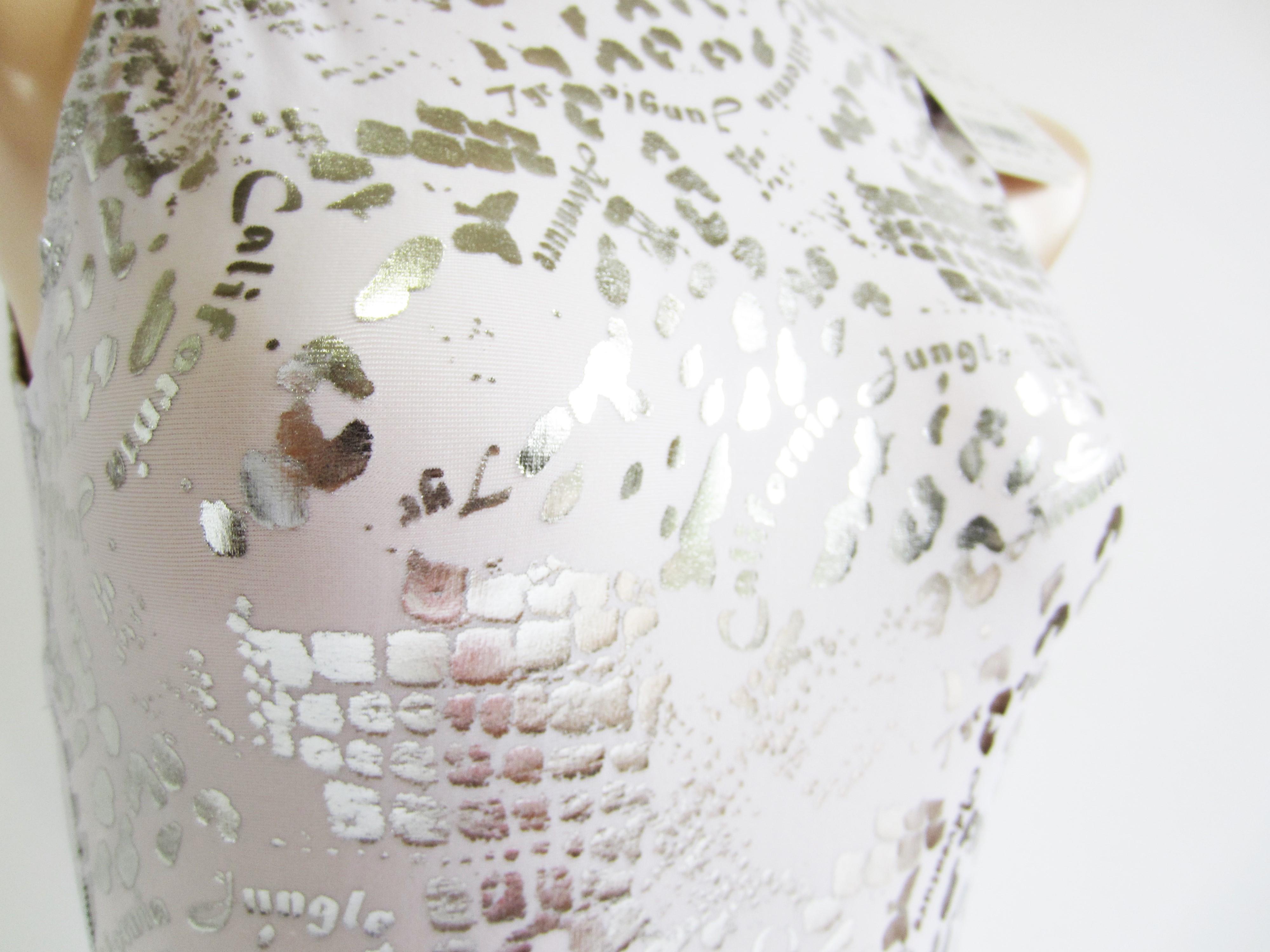 別注 TYR(ティア) ホワイト × シルバー クロコダイル柄 水球水着 ハイネック競泳水着「スイムショプイノウエ限定」