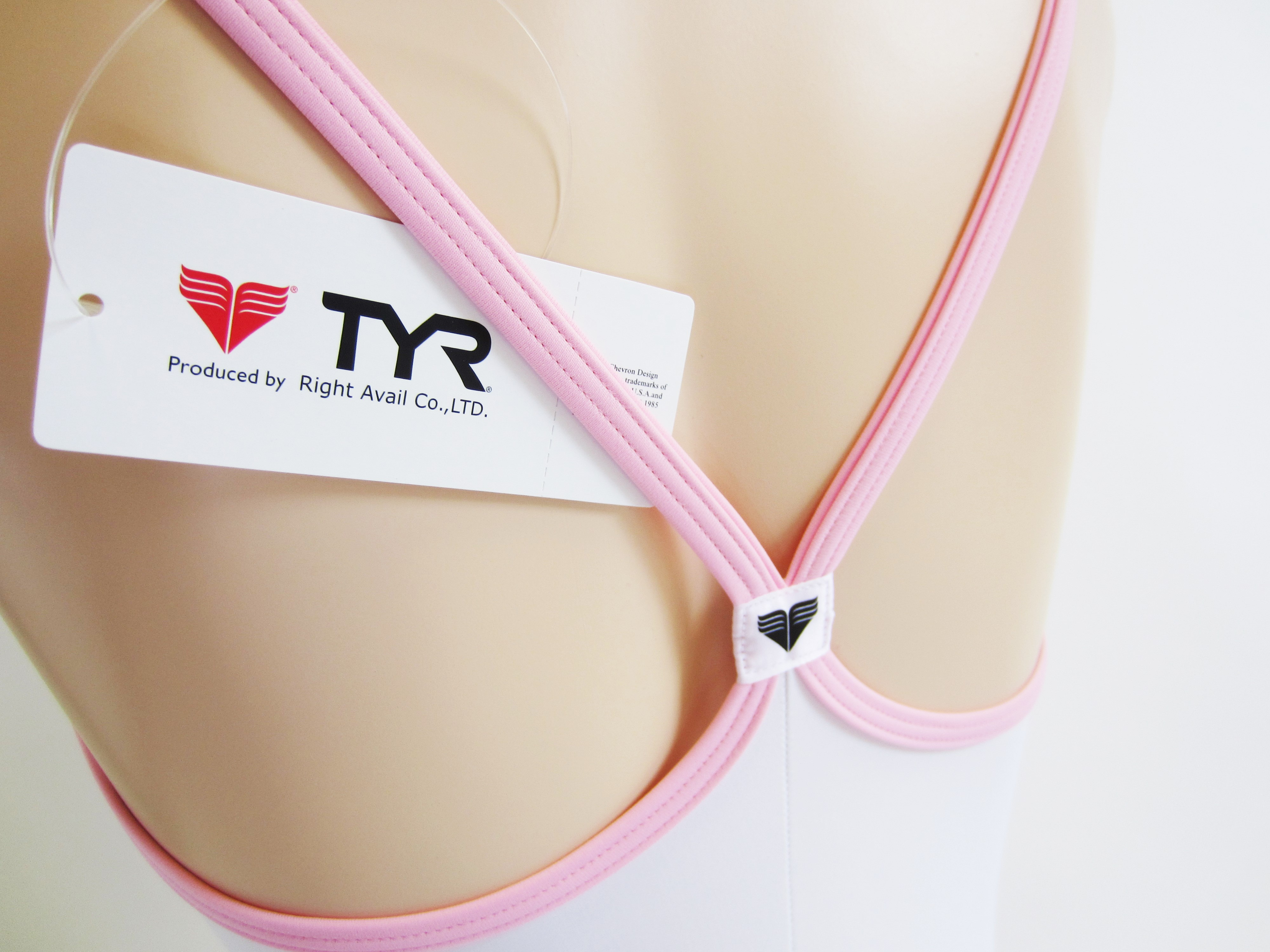 別注 TYR (ティア) スイムショップイノウエ限定    スクール水着(スク水) ホワイト × ベビーピンク