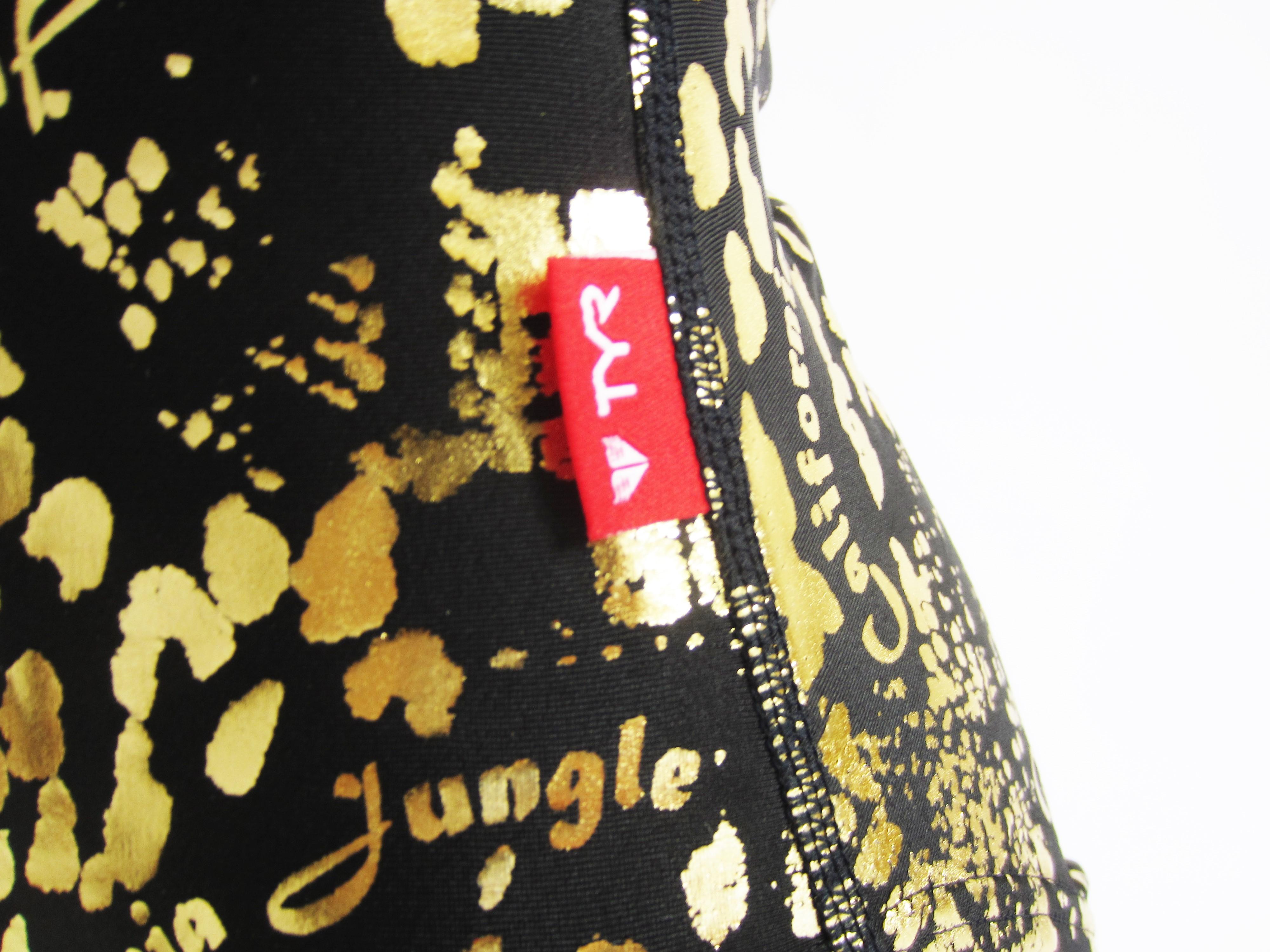 別注 TYR(ティア) ブラック × ゴールド クロコダイル柄 水球水着 ハイネック競泳水着「スイムショプイノウエ限定」