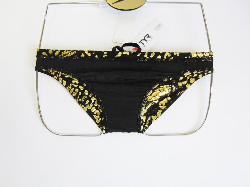 別注 TYR(ティア) ブラック × ゴールド クロコダイル柄 競パン 「スイムショプイノウエ モデル」