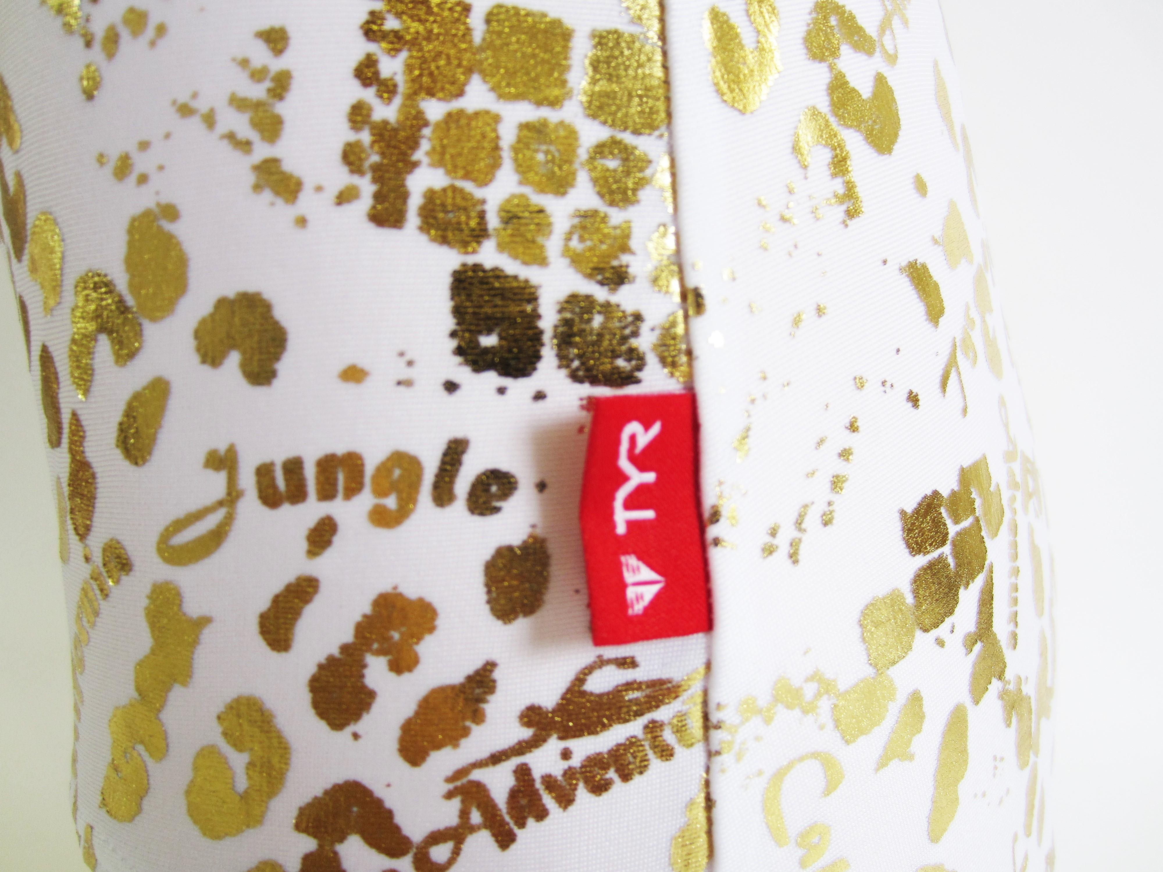 別注 TYR(ティア) ホワイト × ゴールド クロコダイル柄 スクール水着(スク水) 「スイムショプイノウエ限定」