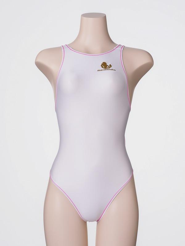 ホワイト + ステッチピンク  「 ロゴあり 」 競泳水着 Mermaidia(マーメイディア) + 【 テルタン : terthane 】