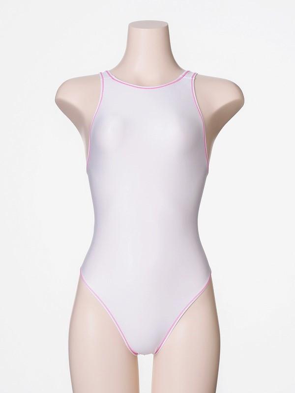 ホワイト + ステッチピンク  「 ロゴなし 」 競泳水着 Mermaidia(マーメイディア) + 【 テルタン : terthane 】