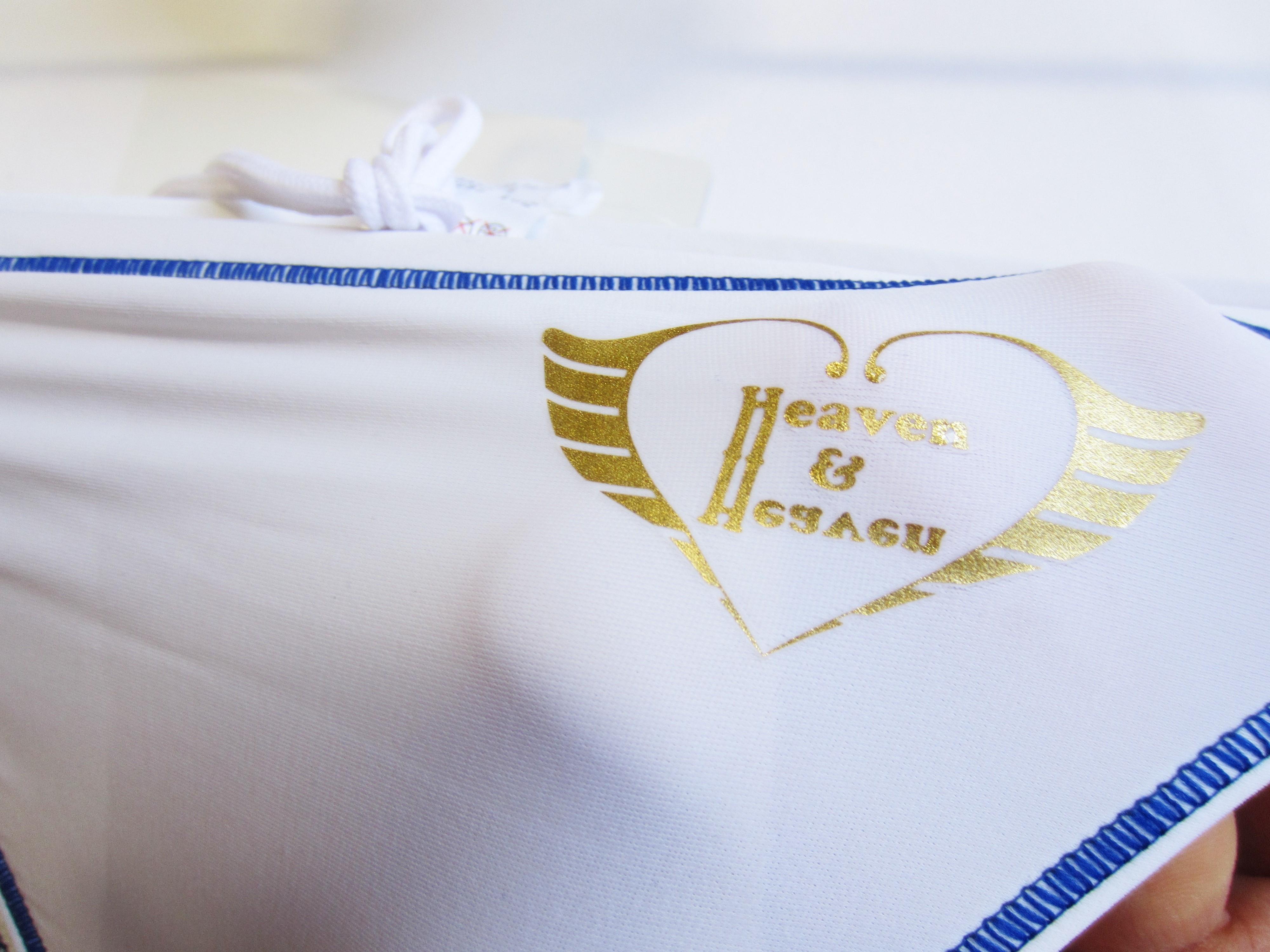 完全別注【極パン&#174;】ホワイト(ステッチ ブルー)<br/>インナー・ロゴ「あり」 透けにくい生地 競パン