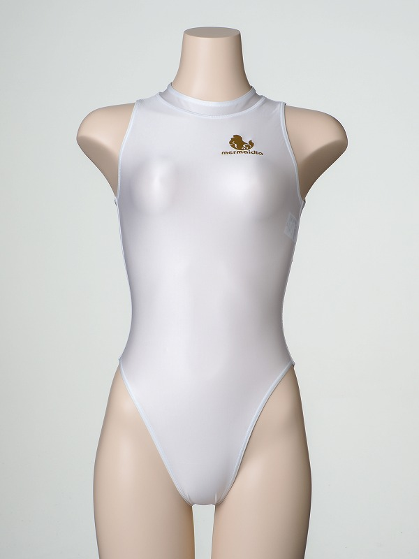 ホワイト  「 ロゴあり 」 女性用水球水着(後ろファスナー) Mermaidia(マーメイディア) + 【 テルタン : terthane 】