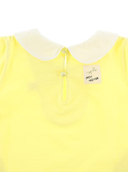 丸襟刺繍ワンピース ちょうちょちゃん レモン キッズ オーガニックコットン使用