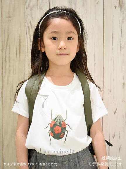 KODOMO Nombre プリント100%再生ペットボトルTシャツ カミキリムシ10 blanc