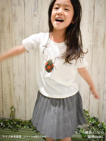 KODOMO Nombre プリント100%再生ペットボトルTシャツ セミ11 blanc