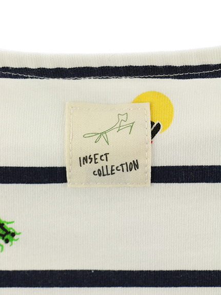 抗ウィルスなど高機能!12昆虫大集合ボーダーTシャツ オーガニックコットン使用