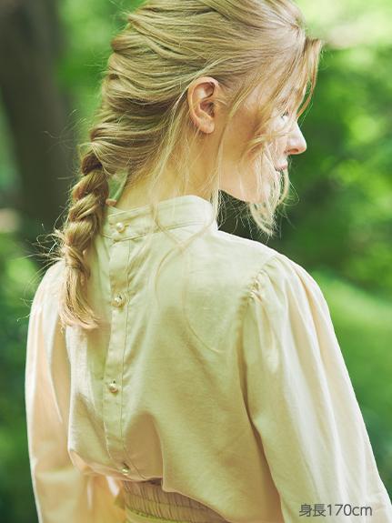 OTONAフードロス染色 本真珠ボタン パフスリーブシャツ blanc