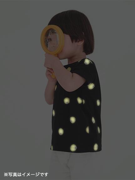暗闇で光る!蓄光ホタルTシャツ ブラック キッズ オーガニックコットン使用