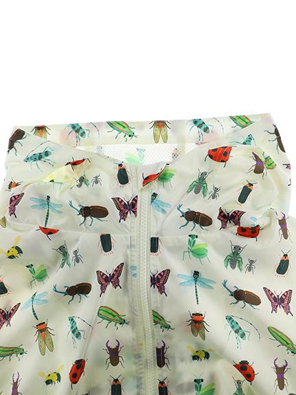 大人も!12昆虫総柄ウインドブレーカー オフホワイト