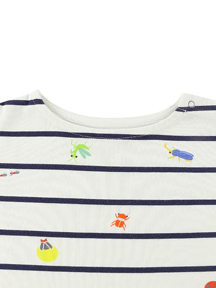 昆虫集合ボーダー長袖Tシャツ ネイビー キッズ オーガニックコットン使用