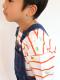 昆虫集合ボーダー長袖Tシャツ レッド キッズ オーガニックコットン使用