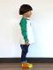 NO INSECT NO LIFE かまきりくん刺繍ラグラン長袖Tシャツ グリーン キッズ オーガニックコットン使用