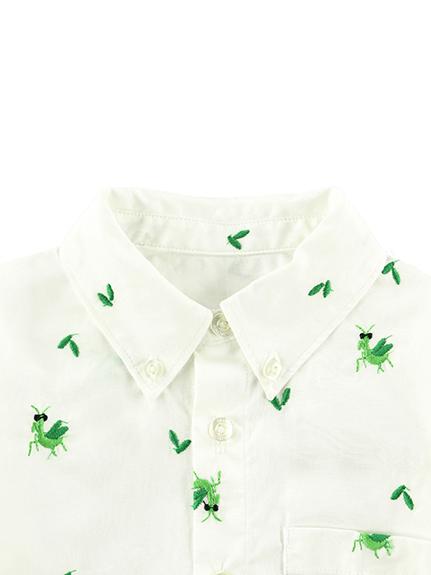 総柄刺繍シャツ かまきりくん ホワイト キッズ