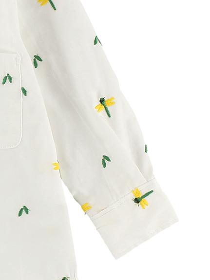 総柄刺繍シャツ とんぼさん ホワイト キッズ