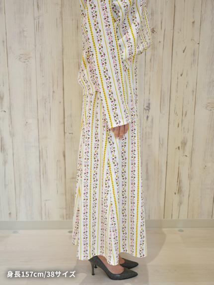 OTONA Rayures 再生素材ロングスカート blanche