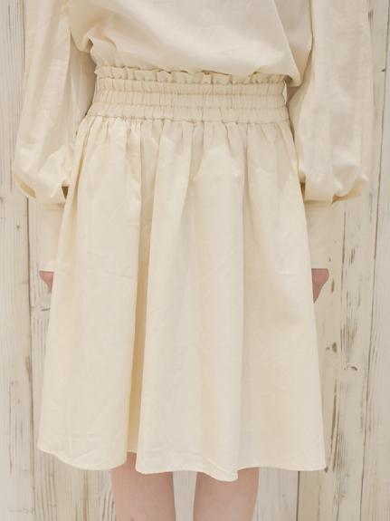 OTONAフードロス染色 2WAYギャザースカート Encyclopedieリボン blanche