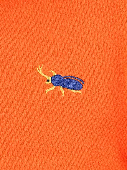 かぶとむしくん刺繍パーカー オレンジ キッズ