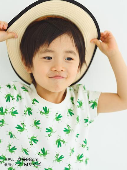 カマキリ大集合Tシャツ ホワイト キッズ オーガニックコットン使用