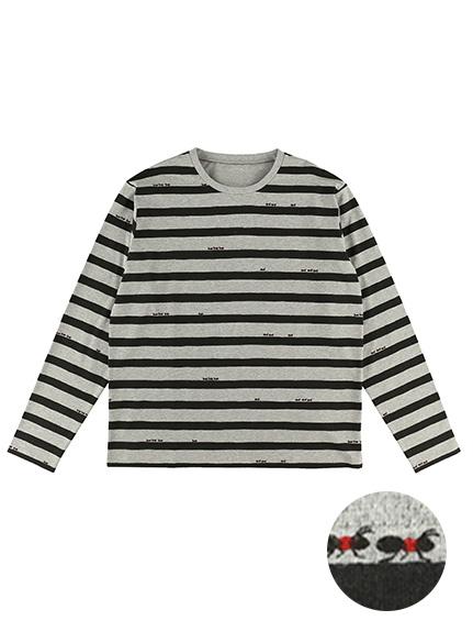 大人も!ありさんボーダーモノトーン長袖Tシャツ グレー オーガニックコットン使用