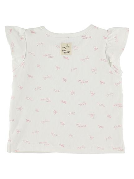 抗ウィルスなど高機能!ピンクモノグラムフリルTシャツ ピンク オーガニックコットン使用