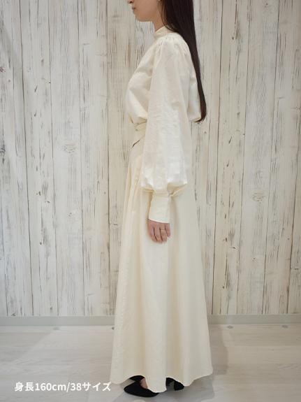 OTONAフードロス染色 4WAYロングスカート Encyclopedieリボン blanche