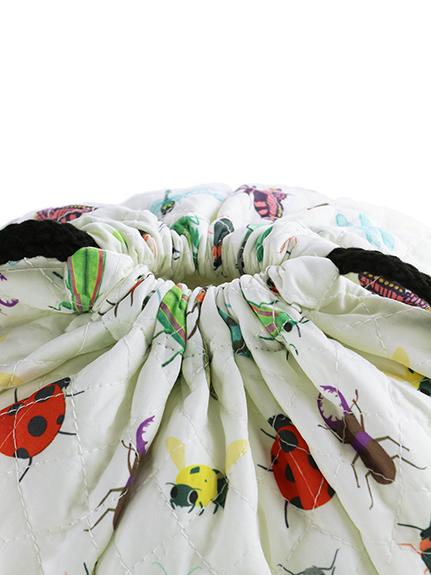 抗菌・防臭 昆虫大集合キルティング2WAY巾着・ナップサック オフホワイト
