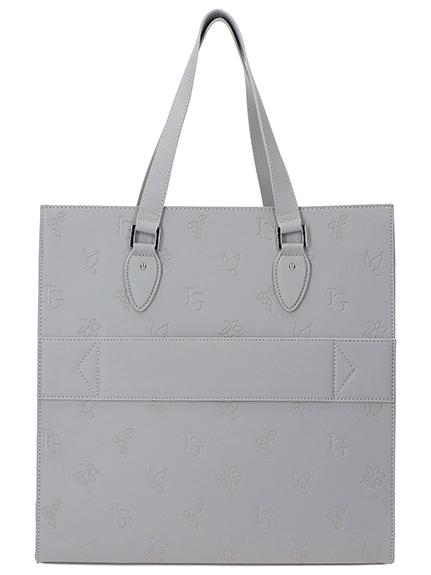 Monogramme型押しアーティフィシャルレザー スーツケースバンド付きORIGAMIトートバッグ gris