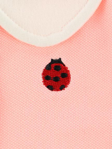 パフスリーブ刺繍ポロシャツ てんとうむしちゃん ピンク キッズ