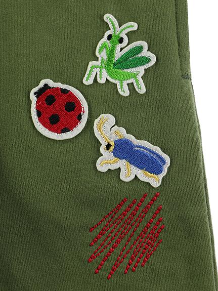 カラフルパレット刺繍&昆虫ワッペン イージーパンツ