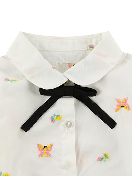 総柄刺繍シャツ ちょうちょちゃん ホワイト キッズ
