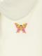 パフスリーブ刺繍ポロシャツ ちょうちょちゃん ホワイト キッズ