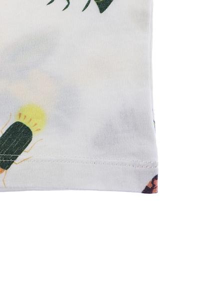 ランダム昆虫大集合長袖Tシャツ ホワイト オーガニックコットン使用