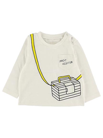 抗ウイルスなど高機能!太陽に当たると昆虫ゲット!?虫かご長袖Tシャツ ホワイト オーガニックコットン使用