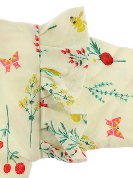 抗ウイルスなど高機能フラワー×昆虫長袖Tシャツ オフホワイト オーガニックコットン使用