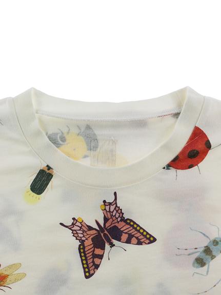 大人も!ランダム昆虫大集合長袖Tシャツ ホワイト オーガニックコットン使用
