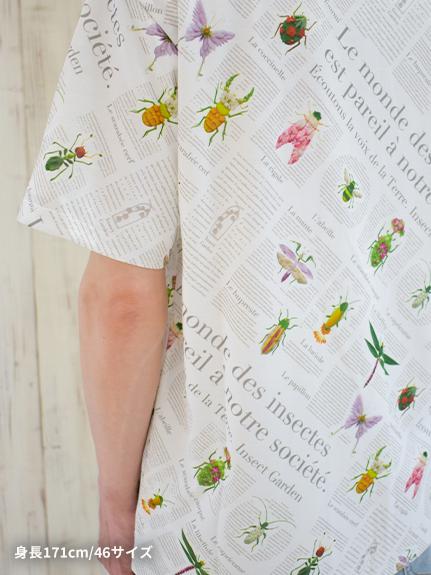 OTONA 再生ペットボトル100% EncyclopedieクルーネックTシャツ blanc
